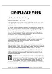 Audit Committee Checklist, D&O Coverage - DLA Piper
