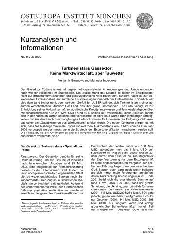 Kurzanalysen und Informationen