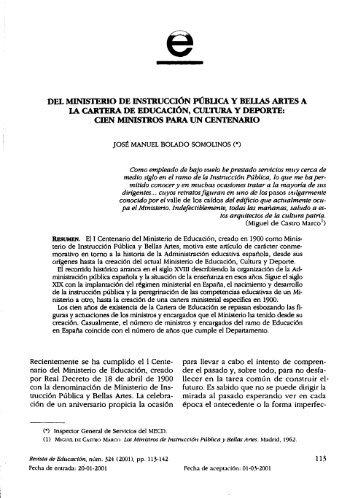 cien miivistros para un centenario - Ministerio de Educación, Cultura ...