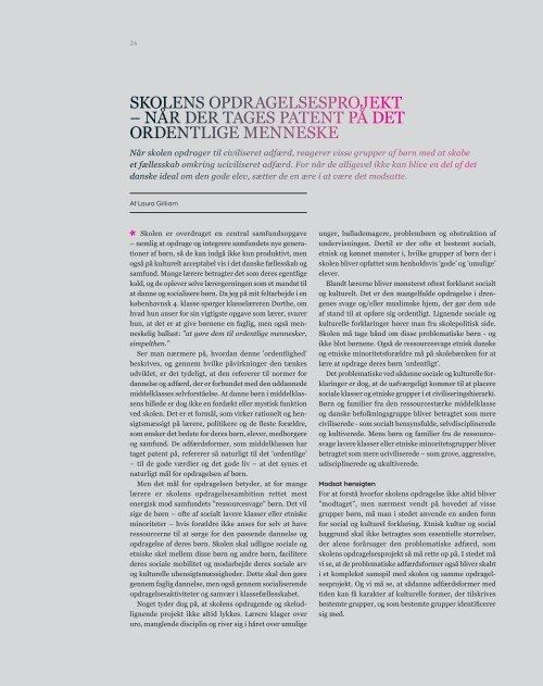 SKOLENS OPDRAGELSESPROJEKT - Institut for Uddannelse og ...