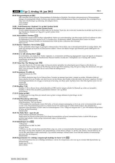 Uge 2, tirsdag 10. jan 2012 - DR