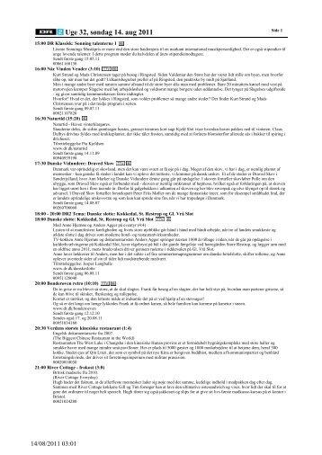 Uge 32, søndag 14. aug 2011 - DR