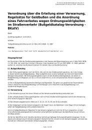 Verordnung über die Erteilung einer Verwarnung, Regelsätze für ...