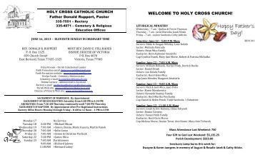 June 16, 2013 - Holy Cross Catholic Church