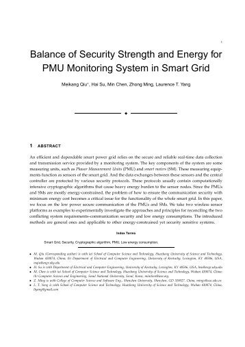 Balance of Security Strength and Energy for PMU Monitoring System ...