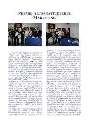 PREMIO ALTERNATIVE PER IL MARKETING - Università di Urbino