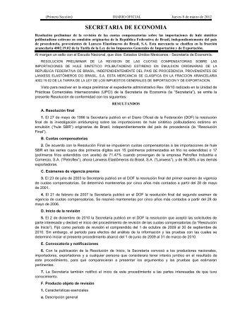 Hule SBR - Secretaría de Economía