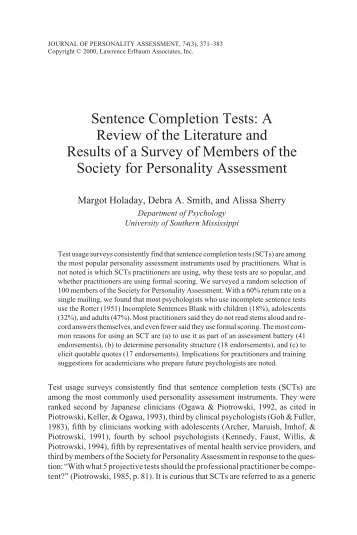 Sentence Completion Tests: A Review of the Literature and Results ...