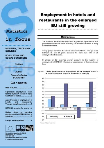 Employment in hotels and restaurants in the enlarged EU still growing