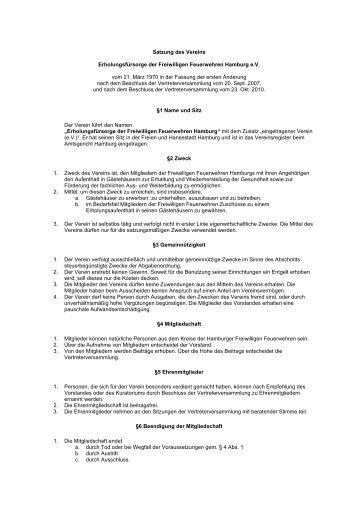 Satzung - Erholungsfürsorge Freiwillige Feuerwehren Hamburg