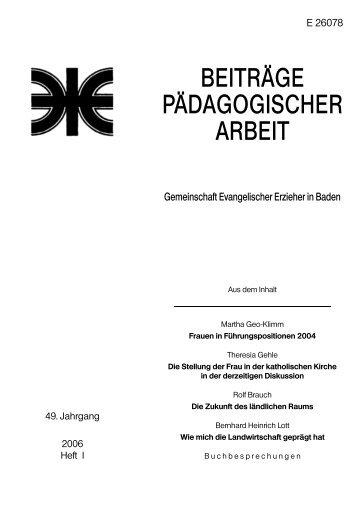 Heft 2006 / I - Evangelische Landeskirche in Baden