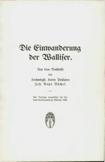 Die Einwanderung der Walliser. - eLiechtensteinensia