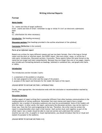 informal report writing example