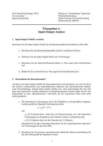 Übungsblatt 2 - Empirische Wirtschaftsforschung und Ökonometrie ...