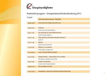 Preliminärt program – Energirelaterad fordonsforskning 2012