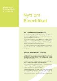 Nytt om Elcertifikat - Energimyndigheten