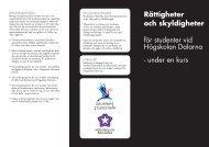 Rättigheter och skyldigheter för studenter vid Högskolan Dalarna ...
