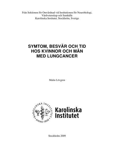 symtom, besvär och tid hos kvinnor och män med lungcancer