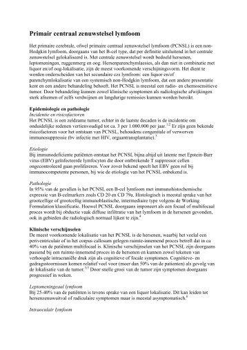 Primair centraal zenuwstelsel lymfoom - Erasmus MC