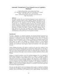 Automatic Translation in Cross-Lingual Access to Legislative - ERCIM