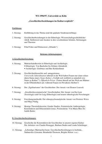 Seminarplan und Literaturliste