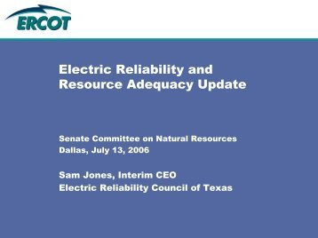 Electric Reliability and Resource Adequacy Update - ERCOT.com