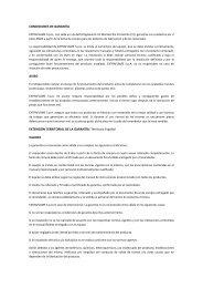 CONDICIONES DE GARANTÍA AVISO EXTENSIÓN ... - Ercyl.com