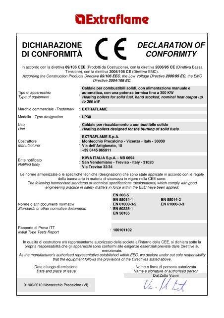 dichiarazione di conformità declaration of conformity - Ercyl.com