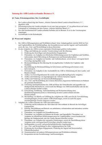 Satzung des Asb-Landesverbandes Bremen e.v. - Arbeiter ...