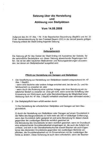 Die Satzung im Wortlaut - Stadt Erding