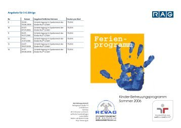 Sommerferienprogramm der RAG - Erfolgsfaktor Familie