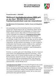 Die Landesregierung Nordrhein-Westfalen - Erfolgsfaktor Familie