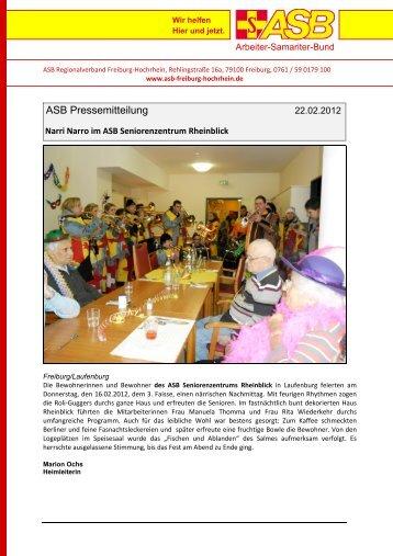 Narri Narro im ASB Seniorenzentrum Rheinblick - ASB Freiburg ...