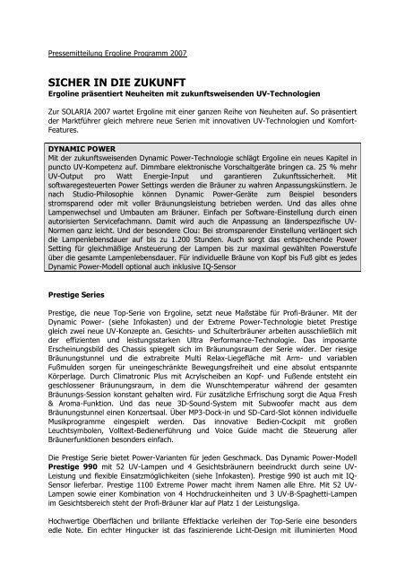 SICHER IN DIE ZUKUNFT - Ergoline GmbH