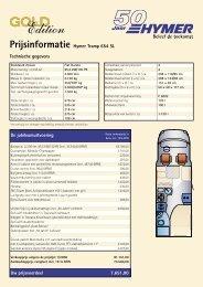Prijsinformatie Hymer Tramp 654 SL Technische gegevens Uw ...