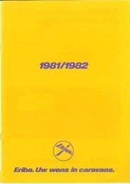 Eriba caravan brochure 1981-1982