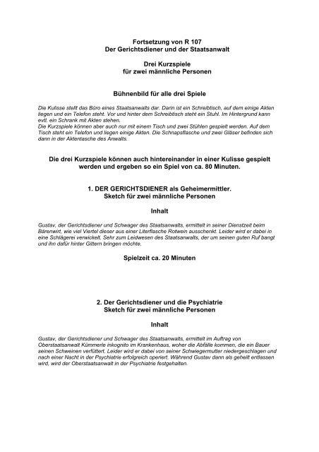 Fortsetzung von R 107 Der Gerichtsdiener und der ... - Erich Koch