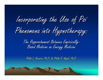 Incorporating the Use of PSI Phenomena into Hypnotherapy