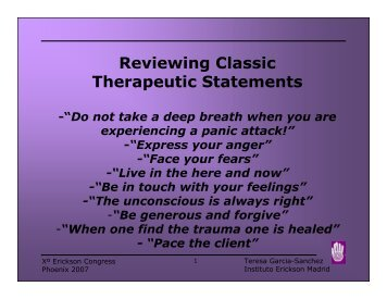 Reviewing Classic Therapeutic Statements