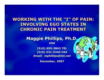 of Pain - The Eleventh International Erickson Congress!