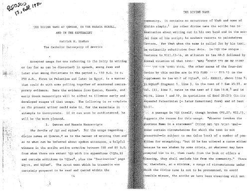 "Skehan, Patrick W., ""The Divine Name at Qumran, in ... - Ericlevy.com"
