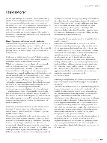 Riskfaktorer - Ericsson