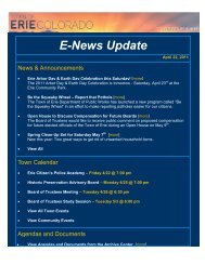 E-News Update for Aprill 22, 2011 - Town of Erie
