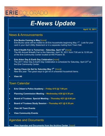 E-News Update for Friday, April 15, 2011 - Town of Erie