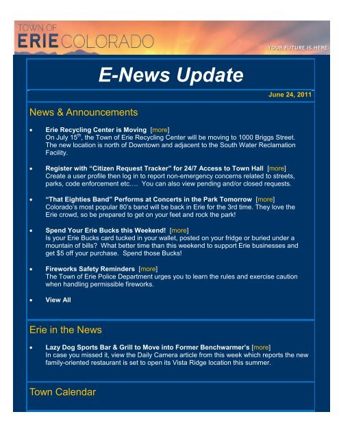 Town of Erie E-News Update for Friday