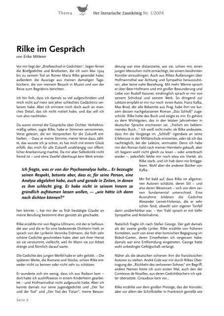 Rilke Im Gespräch Erika Mitterer Gesellschaft
