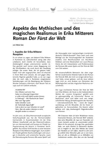 Aspekte des Mythischen und des magischen Realismus in Erika ...