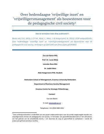 Over hedendaagse 'vrijwillige inzet' - ERIM - Erasmus Universiteit ...