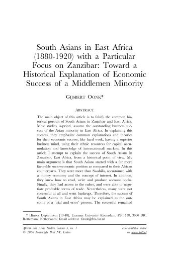 South Asians in East Africa (1880-1920) with a Particular ... - ERIM