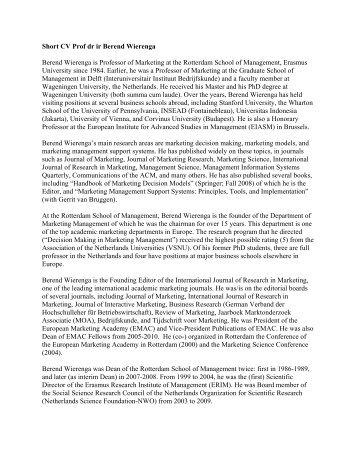Short CV Prof dr ir Berend Wierenga - ERIM